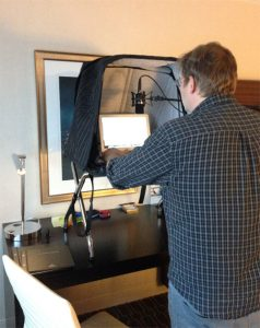 Portable Vocal Booth in hotel-George Whittam audio test