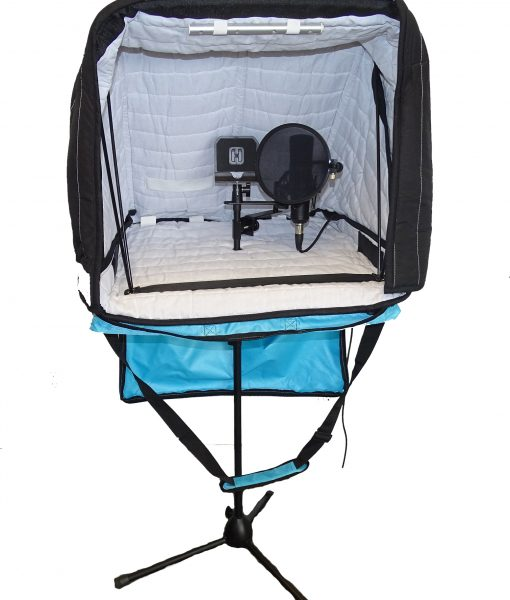 Portable Vocal Booth Carry-on microphone stand mounted