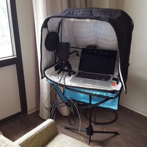 Portable Vocal Booth-Set up for recording-Hood Open