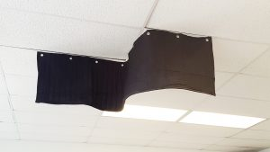 Ceiling sound baffle blanket for sound absorption