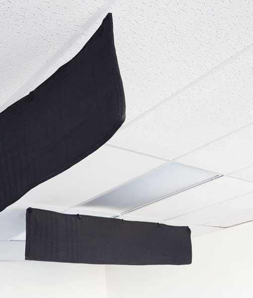ceiling sound baffle office acoustic treatment