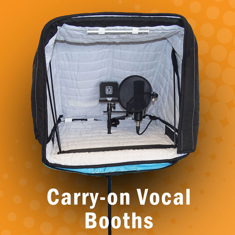 Portable vocal booth for audio recording and travel. Carry-on vocal booth pro, portable sound booth.