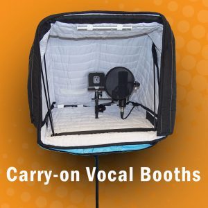 Carry-on Portable vocal booths for singers, voiceover artists, and voice professionals.
