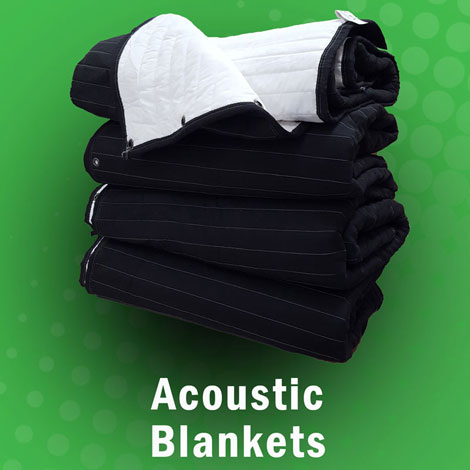 Acoustic blankets Producers Choice for soundproofingand sound absorption, acoustic room treatment for voice over recording.