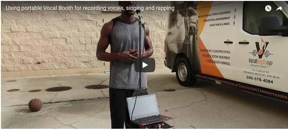 Using portable Vocal Booth for recording vocals, singing and rapping
