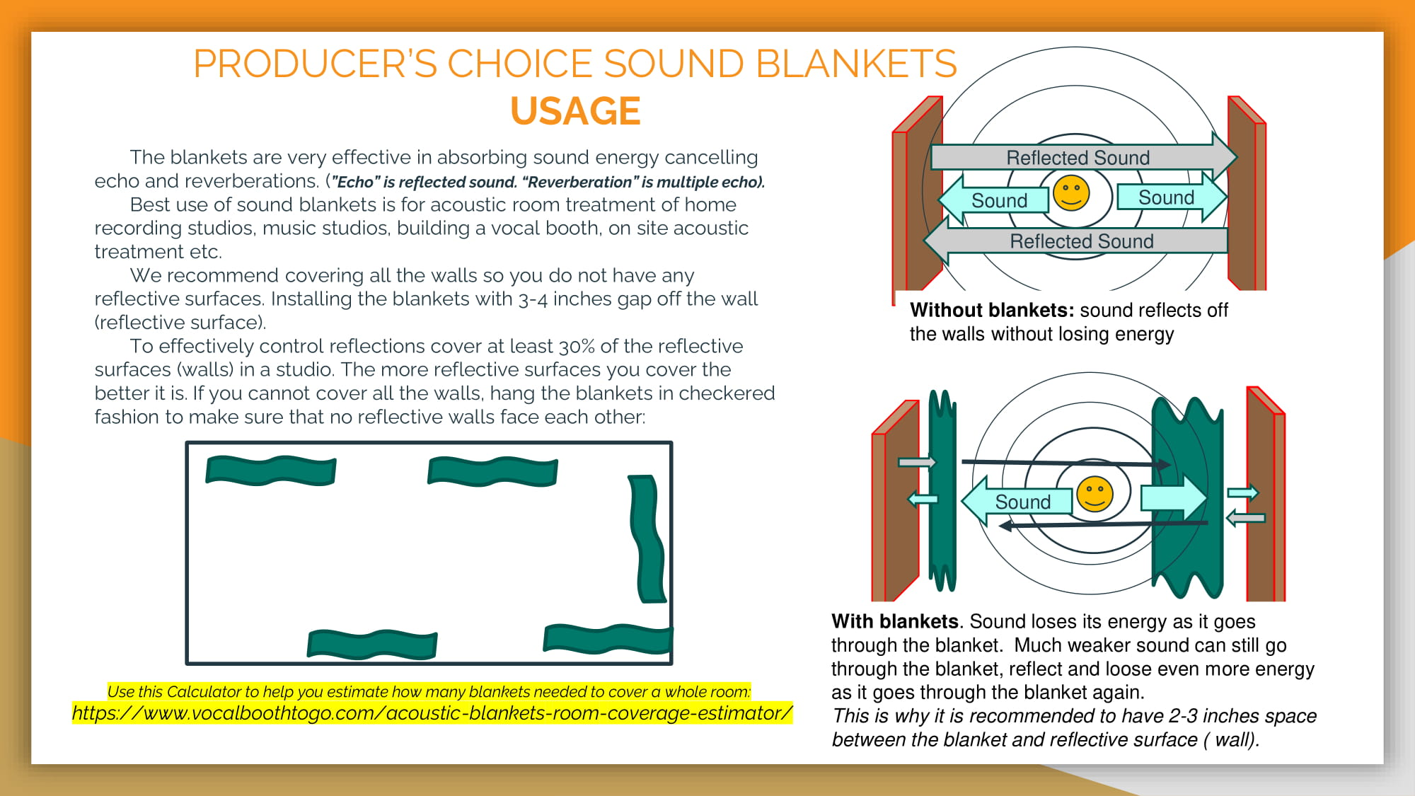 PRODUCER'S CHOICE SOUND BLANKETS USAGE