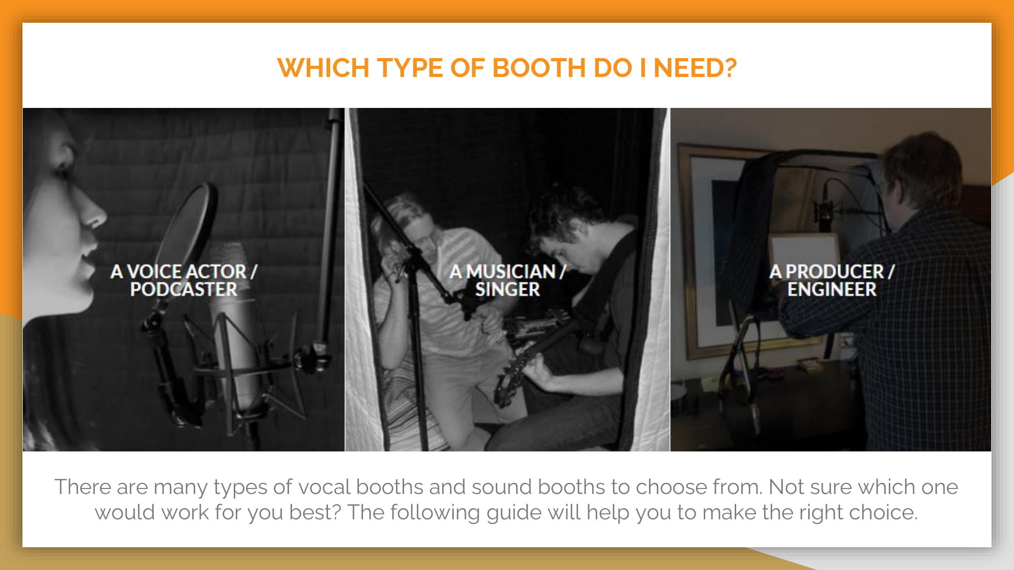 WHICH TYPE OF BOOTH DO I NEED