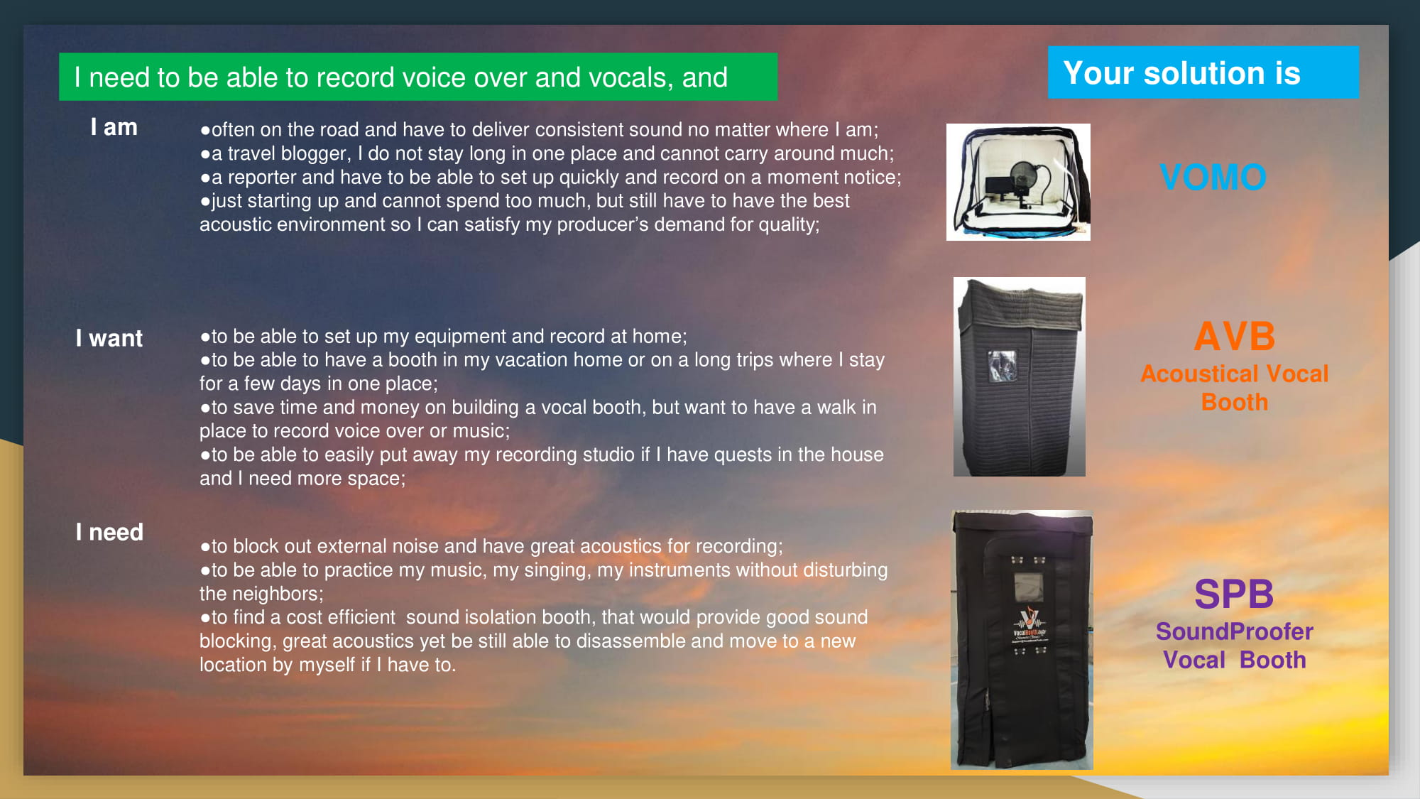 Record voice over and vocals, and solutions path